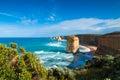 The twelve apostles morning light on landmark along great ocean road in victoria australia with cliff top vegetation on Stock Photos
