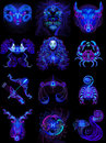 Twelve blue neon horoscope signs. Vector illustration on a black background Royalty Free Stock Photo