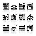 Twelve building silhouettes Stock Photo