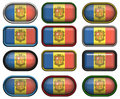 Twelve buttons of the Flag of andorra Royalty Free Stock Images