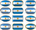 Twelve buttons of the Flag of Argentina Stock Images