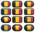 Twelve buttons of the Flag of Belgium Stock Images