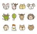 Twelve Chinese zodiac animals Royalty Free Stock Photo