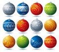 Twelve  christmas ball, vector Stock Photography