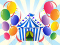 Twelve colorful balloons and the stripe tent illustration of welve Royalty Free Stock Image