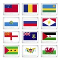 Twelve countries flags on metal texture plates national of samoa romania rwanda san marino russia saba sark western sahara sao Royalty Free Stock Images