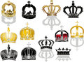 Twelve crowns isolated on white background illustration with Stock Photography