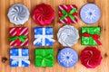 Twelve cute little Christmas gift boxes