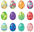 Twelve easter eggs illustration of on a white background Stock Photo