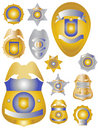 Twelve Gold Brass and Tin Police Badges Shields Stock Images