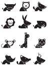 Twelve icon wildlife in black and white design