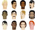 Twelve Men's Faces different races & cultural Royalty Free Stock Photo