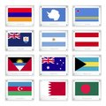 Twelve national flags on metal texture plates of armenia antarctica aruba anguilla argentina austria antigua and barbuda australia Stock Photo