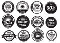 Twelve scalable vintage badges in dark color and style premium high quality guaranteed free shipping delivery discount and Royalty Free Stock Image