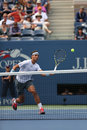 Twelve times grand slam champion rafael nadal duri flushing ny august during his first round match at us open against ryan Royalty Free Stock Photo