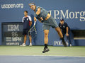 Twelve times grand slam champion rafael nadal during his second round match at us open flushing ny august against rogerio dutra Stock Photos