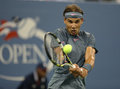Twelve times grand slam champion rafael nadal during his second round match at us open flushing ny august against rogerio dutra Royalty Free Stock Photos