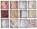 Twelve types of Sea salt in square bowls Royalty Free Stock Photography