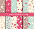 Twelve valentines seamless patterns day vector illustration Royalty Free Stock Photo