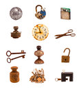 Title: Twelwe old objects and tools isolated on white