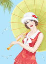 Twenties girl young beautiful woman dressed in style of the with an umbrella Royalty Free Stock Photo