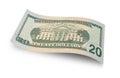 Twenty dollars bill back of dollar banknote isolated on white background Stock Images