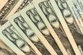 Twenty dollars bills stacked Royalty Free Stock Photo