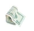 Twenty dollars on a white background. Royalty Free Stock Photo