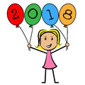 Twenty eighteen balloons represents new year and kids showing young woman child Stock Image