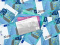 Twenty euro background and credit card cards on banknotes Stock Photo