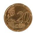 Twenty euro cent coin Royalty Free Stock Photo