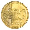 Twenty euro cents coin Royalty Free Stock Photo