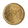 Twenty euro cents detailed shoot of Royalty Free Stock Photo