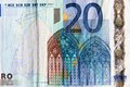 Twenty euros detail of euro banknotes Royalty Free Stock Photos