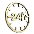 Twenty four hour seven days a week emblem icon glossy black and golden round isolated on white background Stock Photo
