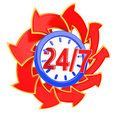 Twenty four hour seven days week service sign red arrows Stock Photo