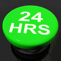 Twenty four hours button shows open hours showing Stock Image