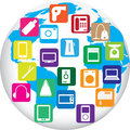 Twenty gadgets for home on globe of world vector illustration Stock Photography