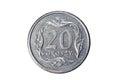 Twenty groszy. Polish zloty. The Currency Of Poland. Macro photo of a coin. Poland depicts a Twenty-Polish groszy coin. Royalty Free Stock Photo