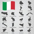 Twenty Maps regionі of Italy - alphabetical order with name. Every single map of region are listed and isolated with wordings Royalty Free Stock Photo