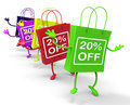 Twenty percent off on colored shopping bags show bargains showing Royalty Free Stock Image