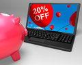 Twenty percent off laptop means online products discounted meaning Stock Images