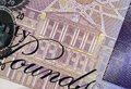 Twenty pound note detail of english showing illustration of the bank of england Stock Photos