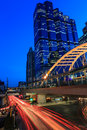 Twilight in bangkok thailand at satorn road Royalty Free Stock Photo