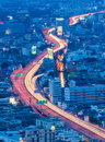 Twilight of city highway overpass after business hours thailand Stock Photos