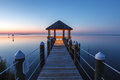 Twilight fantasy gazebo outer banks north carolina and boardwalk on pamlico sound in hatteras at the hour after sunset on a calm Stock Images
