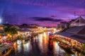 Twilight foatting market in thailand Stock Photos