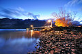 Twilight at glenorchy jetty queenstown new zealand Stock Photo