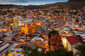 Twilight at guanajuato the city of is lit up during Stock Images