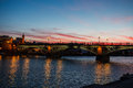 Twilight at Isabel II Bridge in Seville, Spain Stock Photography